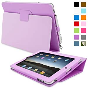 iPad 2 Case, Snugg™ - Smart Cover with Flip Stand & Lifetime Guarantee (Purple Leather) for Apple iPad 2
