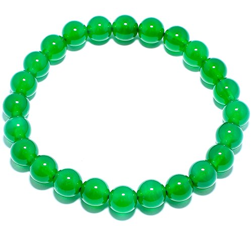 Natural Genuine Green Agate Jade Gem Bead, maxin 8MM Selastic Stretch Stone Loose Beaded Bracelet,Unisex