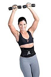 Tecnomed Best Adjustable Waist Cincher Workout Belt Burns Fat Faster Plus Instantly Slims Waist and Moves with You to Provide Critical Lower Back and Core Support for Lifting and Workouts BlackM