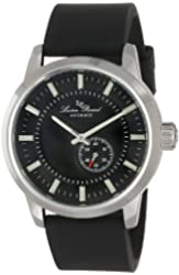 Lucien Piccard Men's LP-12550-01-BK Black Dial Black Silicone Automatic Watch