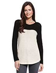 M&S Collection Pure Cotton Colour Block Open Knit Jumper