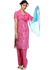 Exotic India Carmine-Rose Salwar Kameez With Crewel Embroidery - Multi-Coloured
