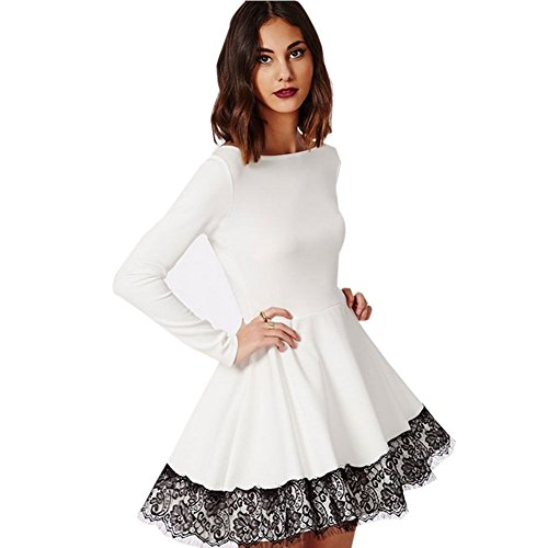 Blooming Jelly Women's Long Sleeve Cute White Lace Prom Cocktail Dress White Medium