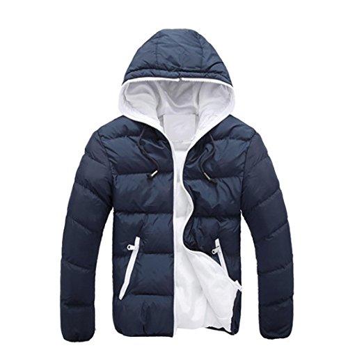 Koly_Mens rivestimento sottile incappucciato spessore inverno cappotto (M, Marina Militare)