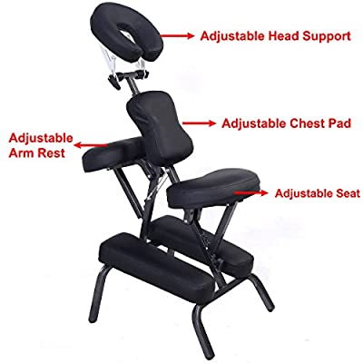 PU Leather Pad Portable Travel Massage Black Tattoo Spa Chair w/ Carrying Bag 3""