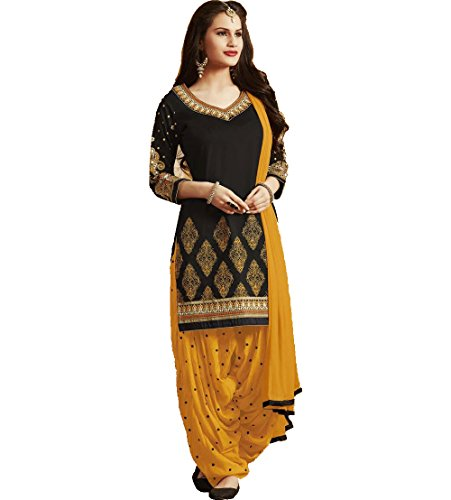 Adorn-Mania-Womens-Cotton-Patiala-Salwar-Embroidered-Kameez-SuitORANGEPATBlackFree-Size