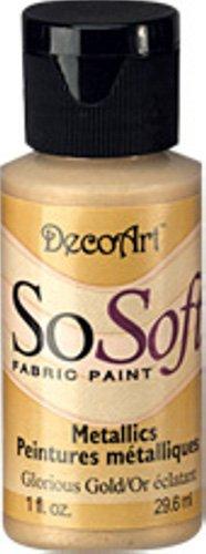 Glorious Gold 1oz Bottle So-Soft Metallic Fabric Paint By Deco Art