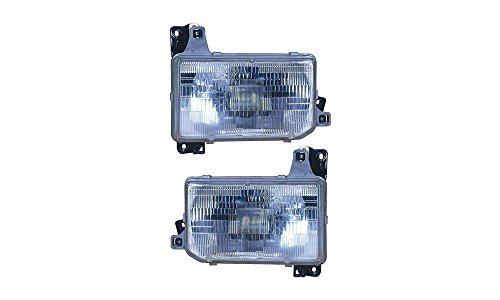 Evan-Fischer EVA13572055237 New Direct Fit Headlight Head Lamp Set of 2 Composite Clear Lens Halogen With Bulb(s) Driver and Passenger Side Replaces Partslink# NI2503104, NI2502104 (1995 Pathfinder Headlight Wiring compare prices)