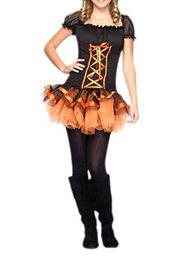 Lasexy Women Puff Sleeve Princess Halloween Costume Witch Cosplay Outfit Dress