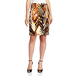 Anne Klein Women's Tiger Print Slim Skirt, Paprika Multi, 8