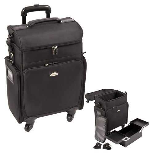 Sunrise All Black Soft_Sided Professional 4-Wheels Carry-On Rolling Makeup Case With Ipad/Tablet Holder – C6017