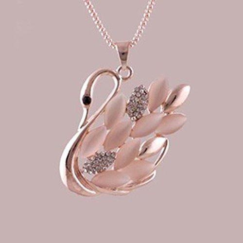 Spritech (TM)-Corea Donna Noble, a forma di cigno con opale e cristalli, con pendente a forma di maglione