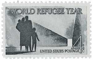 #1149 &#8211; 1960 4c World Refugee Year Postage Stamp Numbered Plate Block (4)
