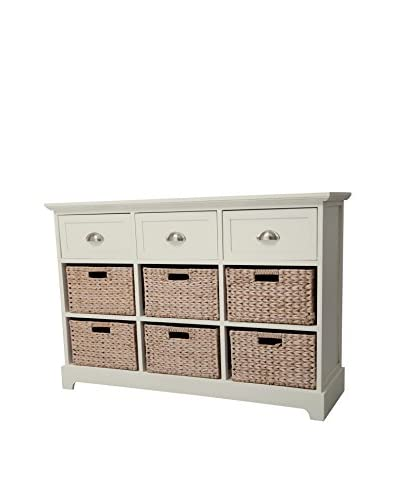 Gallerie Décor Newport 3-Drawer & 6-Basket Table, Cream