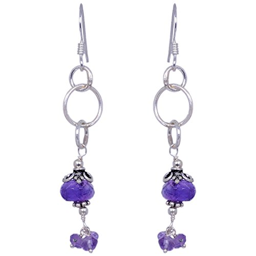 Amethyst Gemstone Faceted Bead Earrings Made In .925 Solid Silver
