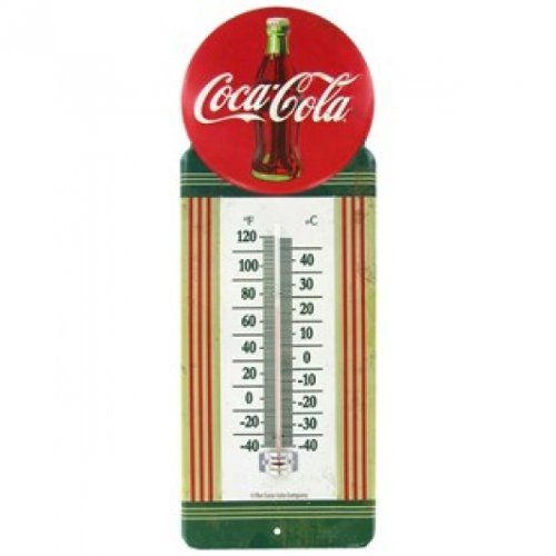 1950's Vintage Style Metal Red Button Coca Cola Thermometer Embossed Sign Genuine Collectible Soda Coke Bottle 0