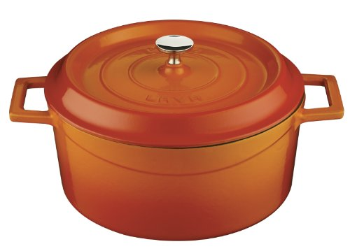 Lava Signature Round Enameled Cast-Iron Dutch Oven - 4 3/4 Quart, Orange Spice front-13487