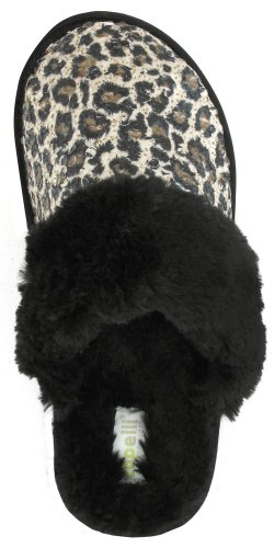 Image of Capelli New York Leopard Sequin With Long Pile Bunny Trim Ladies Indoor Slipper Black Combo Large (B00937MIBA)