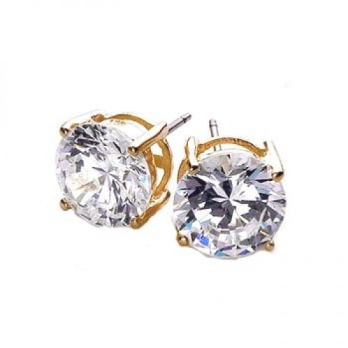 Bling Jewelry Gold Vermeil Basket Setting Round Cut CZ Men Unisex Stud Earrings (1ct 7mm)