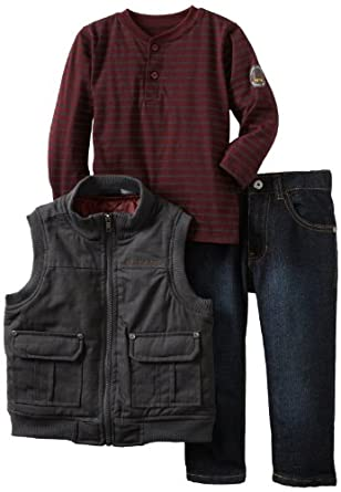 Calvin Klein Little Boys' Tee And Jean Canvas Puffy Vest, Gray, 2T