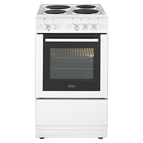 Belling FS50ES WHITE 500mm Single Electric Cooker Solid Plate Hob White