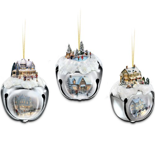 Thomas Kinkade Sleigh Bells Christmas Tree Ornaments by The Ashton-Drake Galleries