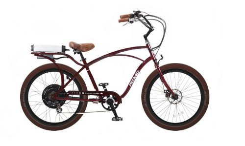 Pedego Burgundy Comfort Cruiser Classic Electric Bike with Black Rims and Brown Balloon Tires