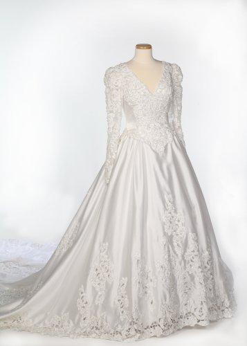 White Long Sleeve Satin Wedding Gown