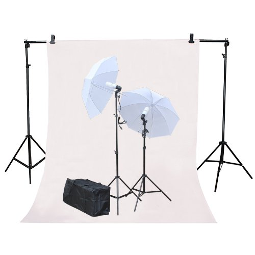Studio Photography Photo Background Support Stand 2.3m (H) x 3m (W) with 2 Translucent Umbrella Lights Free 3m x 6m White Muslin Screen and Carrying Bag