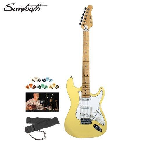 Sawtooth Citron Vanilla Cream Electric Guitar W/ White Pickguard - Includes: Strap, Picks & Online Lesson