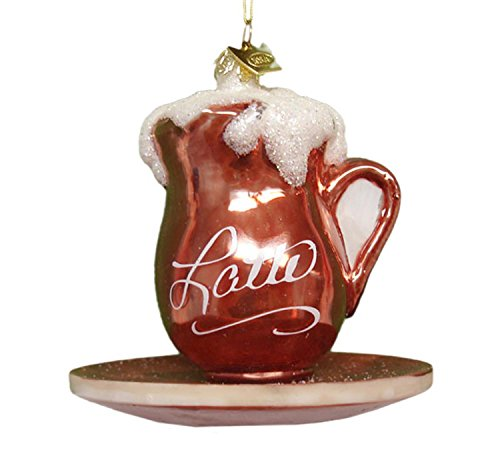 Noble Gems Mouth Blown Glass Coffee Break Latte Christmas Ornament 3.5