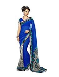 AG Lifestyle Blue Georgette Saree With Unstitched Blouse SNS228B