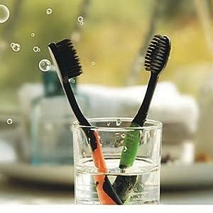 Xiong 4 PCS Dental Care Premium Bamboo charcoal Nano Toothbrush Set for Travel