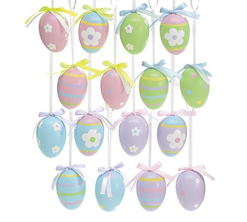 Set of 48 Decorative Easter Egg Ornaments Spring Colors and Designs