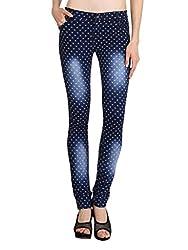 NGT Women's Floral Print Royal Blue Jeans
