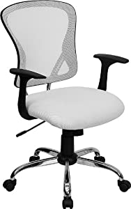 Cool White Mesh Back Padded Mesh Fabric Seat Swivel Tilt Office Desk Task Chairs #8369