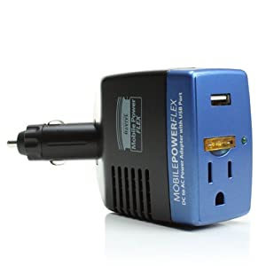 Mobile PowerFlex Travel Power Inverter & Charger w/ USB Port, AC Outlet and 300 Watts of Surge Capacity for Laptops, Smartphones, Tablets, iPods, Portable DVD Playersand more! from Accessory Power