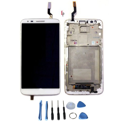 Lcd Display Touch Screen Digitizer Assembly For Lg G2 D800 D801 + Frame + Free Tool (White)