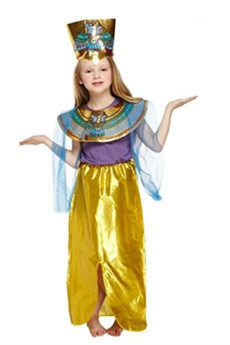 [Boys Egyptian Pharoah King Fancy Dress Book Week Costume Kids Party Child Outfit (large (age 10-12 yrs), girls cleopatra queen] (Cleopatra Outfit)