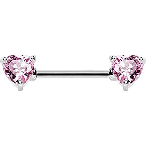 Pink Heart Front Nipple Barbell