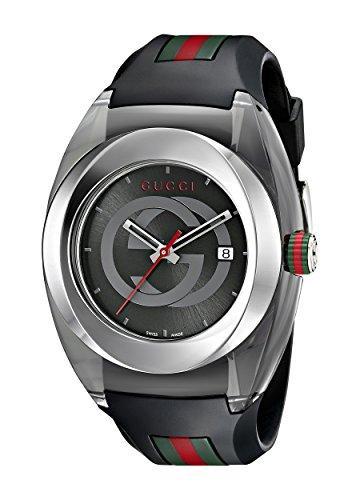 Gucci  YA137101 - Reloj de cuarzo unisex, con correa de goma, color negro