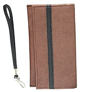 Jo Jo A5 Nilofer Leather Wallet Universal Pouch Cover Case For Lava Pixel V1 with Android One Light Brown Black