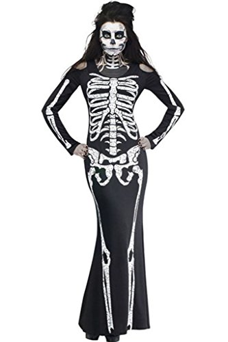 Lymanc Women's Stylish Printed Skull Halloween Catsuit Costume Sugar