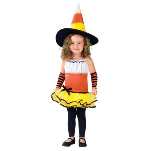 Toddler Deluxe Candy Corn Witch Costume Size 3-4T