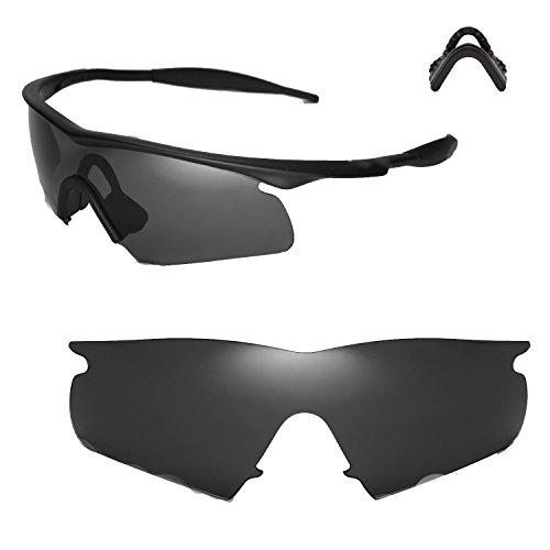 Walleva Black Polarized Lenses + Nosepad for Oakley M Frame Hybrid Sunglasses