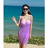 XARA bikini atractivo de la manera gasa sólida profunda-v traje de baño traje de baño beachdress encubrimiento de las mujeres , Purple