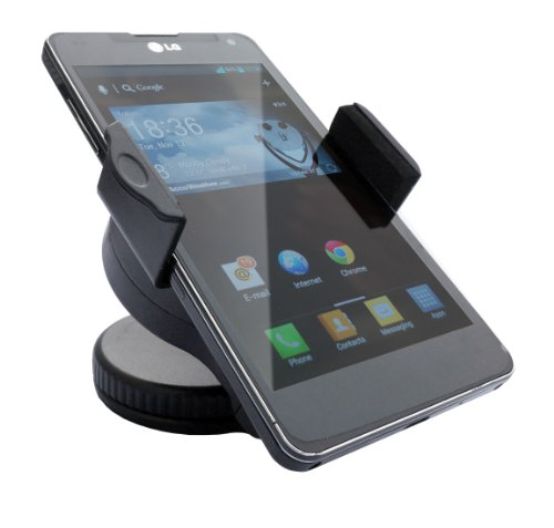 Cellular Phone Holder For Car, Home Or Office - Hands Free Mount In Horizontal And Vertical Positions - Works On Dashboard, Windshield Or Desktop With All Mobile Phones Including Iphones, Androids, Blackberry And Gps (Universal) - Money Back Guarantee