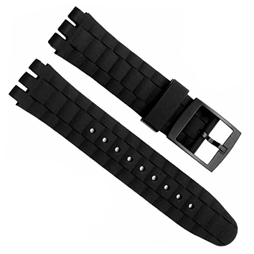 greenolive-21mm-replacement-waterproof-silicone-rubber-watch-strap-watch-band-black