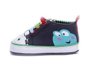 La vogue 11CM Zapatos Para Bebé Lona Patrón De Rana Suave Con Suela Primeros Pasos Azul Oscuro