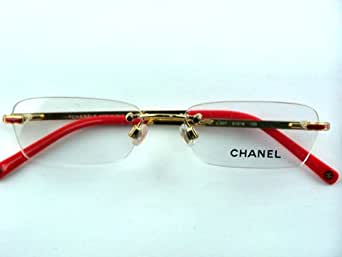 Chanel Rimless Eyeglass Frames : Amazon.com: Authentic Chanel 2072 c.307 Gold Red Rimless ...